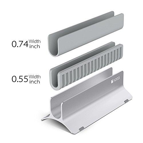 Vertical Laptop Stand, LOCA Aluminium Desktop Stand for Apple MacBook, notebooks (Silver) … Photo #9