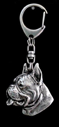 Boxer (Cropped&pointed Ears), German Boxer, Deutscher Boxer, Silver Hallmark 925, Silver Dog Keyring, Keychain, Limited Edition, Artdog by Art Dog Ltd.
