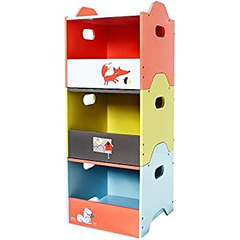 Labebe Wooden Toy Storage Bin 3-Color Combined Stackable Fox Toy Bin Open  sc 1 st  Amazon.com & Amazon.com: Labebe Wooden Children Furniture 2-in-1 Toy Box u0026 Bench ...