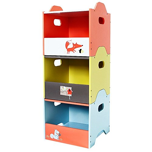 Labebe Wooden Stackable Toy Box / Storage / Organizer / Container, Orange/Yellow/Blue Fox Pattern 3-Layer Shelves, Kids Room / Toddler Bedroom Storage Furniture - Open Door