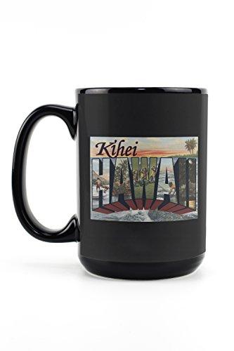 Kihei, Hawaii - Large Letter Scenes (15oz Black Ceramic Mug - Dishwasher and Microwave Safe) (Scene Large Mug)
