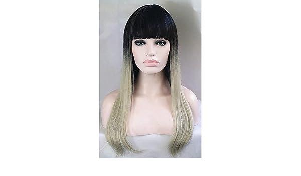 OOFAY JF® pelucas baratas 1b de dos tonos / rubia ombre moda de celebridades peluca recta pelucas elegantes femeninos de plata peluca recta: Amazon.es: ...
