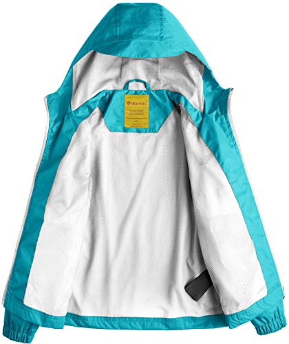 921744a81 Wantdo Girl s Lightweight Hooded Rain Jacket Waterproof Outwear Rain ...
