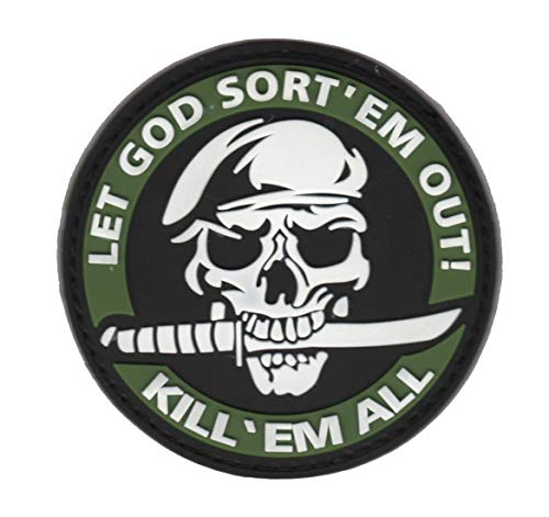 LET GOD SORT 'EM Out Kill 'EM All Martial Arts Military Patch Fabric PVC Badges Patch Tactical Stickers for Clothes with Hook & Loop (Green)]()