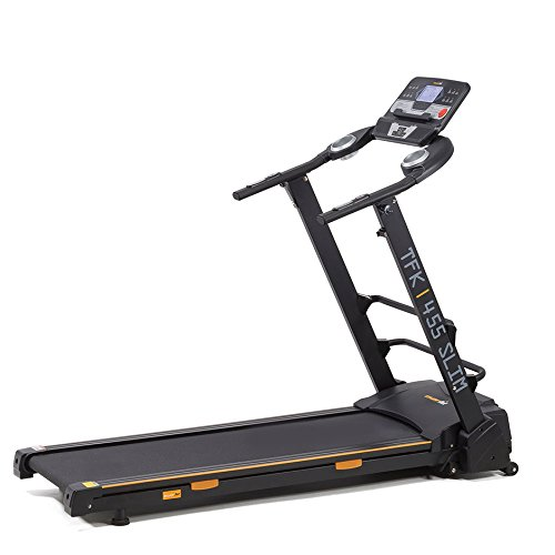 4EVER FIT Everfit TFK 455 Slim 425 x 1270 mm 16 km h Treadmill – Laufband (110 kg, 16 km h, verbrannte, Distance, Heart Rate, INCLINATION, Speed, Time, Hand Grip Sensors, LCD, 425 x 1270 mm)