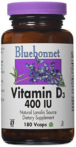 - Bluebonnet Vitamin D3 400 IU Vegetable Capsules, 180 Count