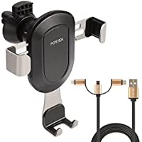 Car Phone Holder, FOSTEK Universal Gravity Car Phone Air Vent Holder Mount with a USB 3 in 1 Charging Cable for IPhone X/8/8Plus/7/7Plus/6s, Galaxy S8/S8+/S7/S6, Google Nexus, LG, Huawei and More