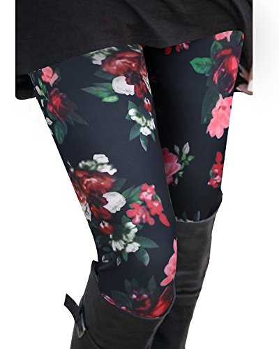 Floral Print Leggings - OUGES Women's Soft Printed Stretchy Slim Leggings Pants(Floral,M)