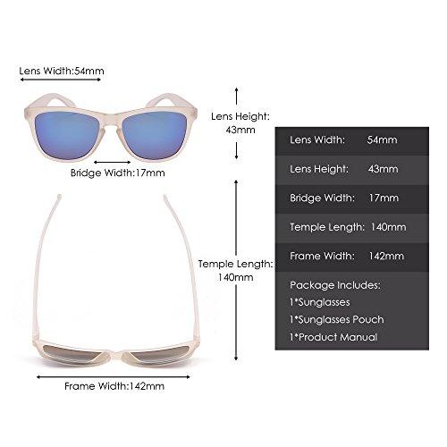 Homme UV400 de Bleu pour Lunettes Solaire Miroir Verre Léger Rétro Réfléchissant Lunette Soleil Femme Transparent 0dqa4