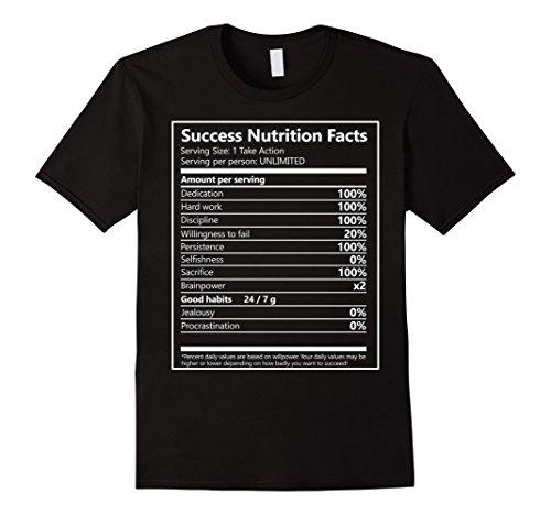 c67a7dcf Mens Success Nutrition Facts Entrepreneur Motivation tShirt XL Black