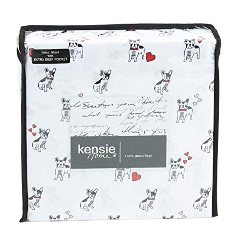 French Bulldog Frenchie Dog Valentine's Day with Hearts Print Design Twin Size Sheet Set (Flat, Fitted, Pillowcase) Romantic Flirty Cute Valentine Microfiber