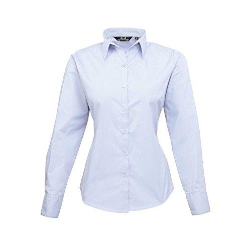 Blusa de manga larga de popelina para mujer azul claro