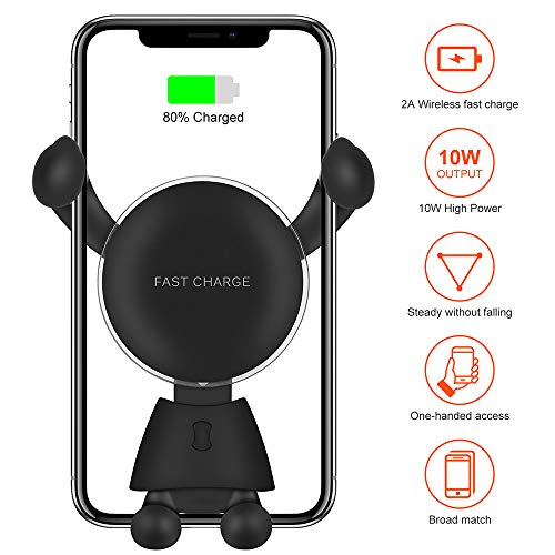 Wireless Car Charger,NUOGAO Auto Clamping Air Vent Phone Holder, 10W, fast charging car phone holder, compatible with iPhone Xs/Xs Max/XR/X / 8/8 Plus, samsung Galaxy S10 / S10 + / S9 / S9 + / S8 / S8 ()