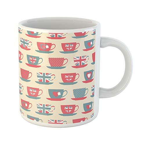 Semtomn Funny Coffee Mug Red Tea Teacups Blue Cup Vintage England Pattern British 11 Oz Ceramic Coffee Mugs Tea Cup Best Gift Or Souvenir