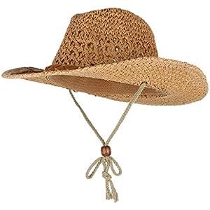 Fityle Unisex Mens Womens Sun Hat Wide Brim Woven Western Straw Cowboy Hat