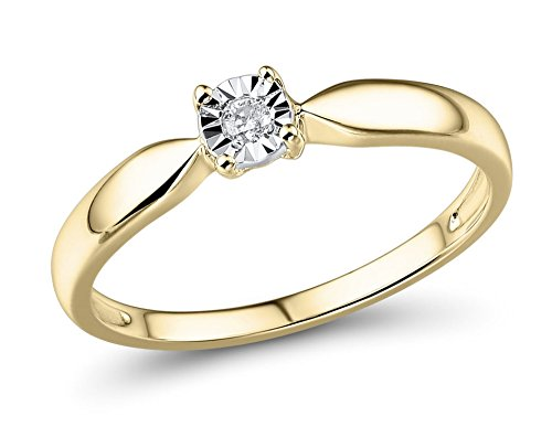 Diamond Promise Ring in 10k Yellow Gold and Rhodium Plated 10k White Gold