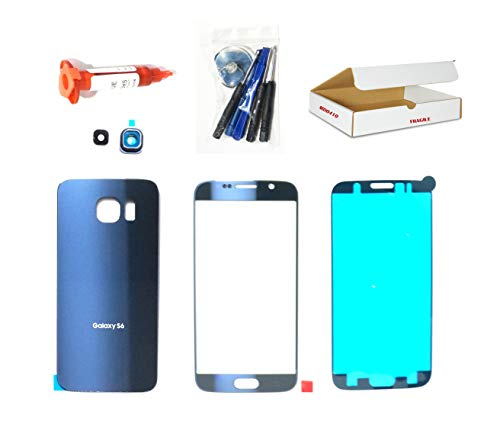((md0410) Black Sapphire Blue Front Outer Glass Lens, Back Housing Cover, Camera Lens Cover Replacement Compatible Galaxy S6 G920 + Adhesive + Tools (LCD touch screen & Digitizer not included))