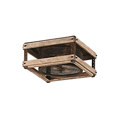Troy Lighting Merchant Street 3-Light Flush Mount - Rusty Iron with Salvaged Wood Slats Finish and Iron Mesh Shade