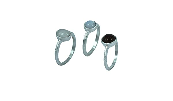 CHIC de Net Juego Tres Anillos de plata fina textura natural piedras color blanco marrón plata de ley 925 diseñador joyas 56 (17.8): Chic-Net: Amazon.es: Joyería