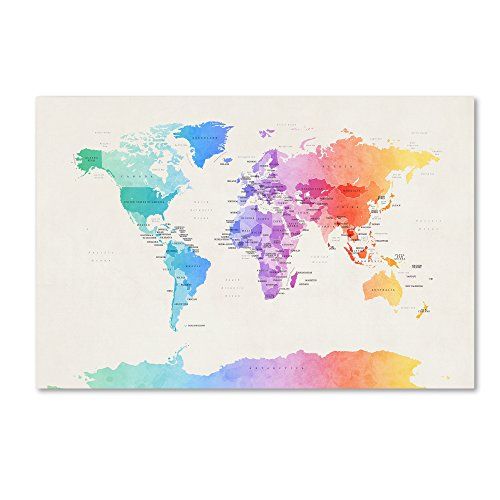 Watercolor Political World Map by Michael Tompsett, 22x32-Inch Canvas Wall Art]()