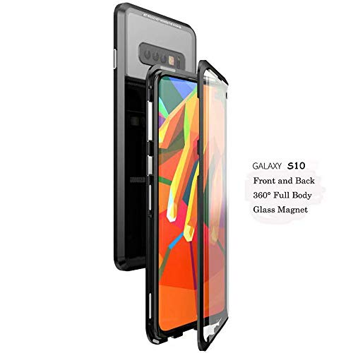 Galaxy S10 Case,Magnetic Adsorption Case Front and Back Clear Tempered Glass 360° Full Body Protection Flip Cover for Samsung Galaxy S10 (Black+Black, Samsung Galaxy S10) by IQIYEVOLEW (Image #1)