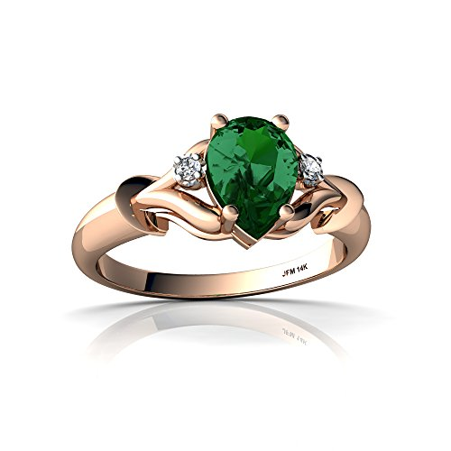 14kt Rose Gold Lab Emerald and Diamond 7x5mm Pear Gothic Pear Ring - Size 9 ()