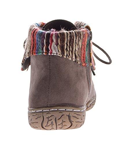 Scandi Damen Stiefeletten Stoffumschlag Schuhe Knöchelschuhe Zierknopf Schnürer Gr. 36-41 Grau