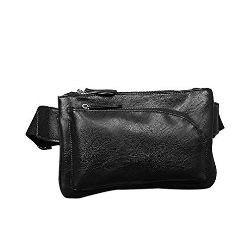Wewod coreano Hombres Bolsa del Pecho Mensajero de Bandolera de PU Cuero de la cintura a mano del bolso 26 x 16.5 x 6 cm (Largo * Alto * Grueso ) Negro