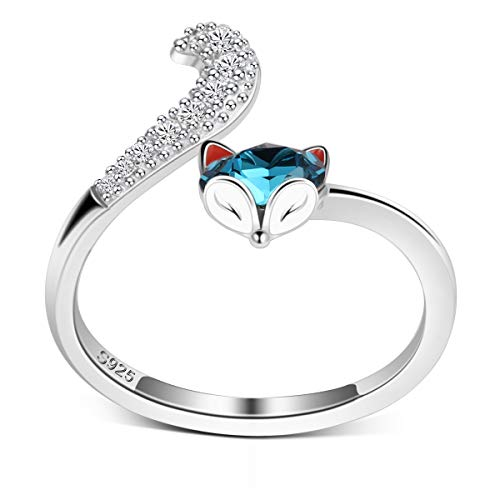 PLATO H S925 Sterling Silver Fox Ring High Polish Plain with Crystals from Swarovski for Women Girl Dainty Jewelry Gift Anniversary Wife Birthday