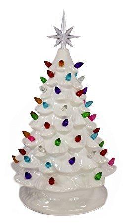 Tabletop Ceramic Lighted Christmas Tree 7 inch Tall (Multi Bulbs)