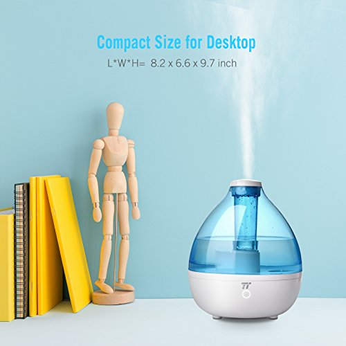 2.3L Humidifiers for Bedroom, TaoTronics Cool Mist Ultrasonic Humidifier for 100-210sq ft Room Space --(2.3L/0.61 Gallon, US 110V)