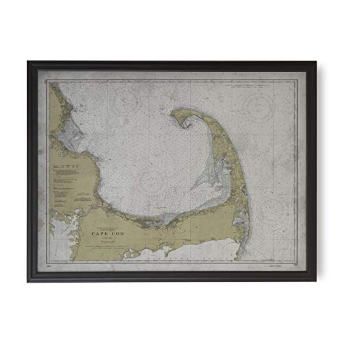 Archive Print Co. Cape Cod Nautical Map, Wall Art, Map Wall Decor Circa Early 20th Century, Framed Map Options Available (Framed | Large, Matte Black Frame, 50 1/4