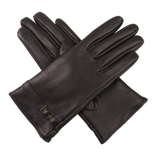 Luxury Lane Women's Cashmere Lined Lambskin Leather Gloves with Buckle - Chocolate Medium by Luxury Lane (Image #1)