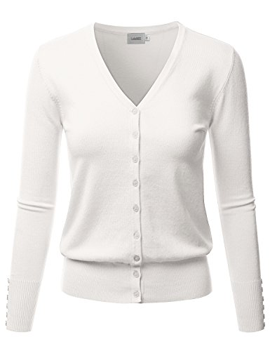 LALABEE Women's V-Neck Long Sleeve Button Down Sweater Cardigan Soft Knit-Ivory-M ()