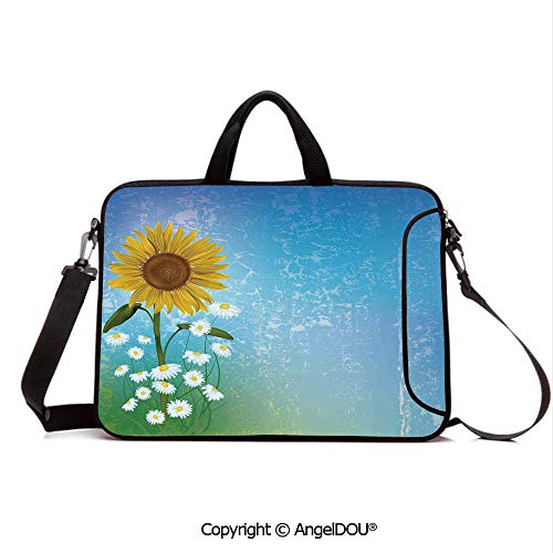 AngelDOU Neoprene Printed Fashion Laptop Bag Grunge Floral Illustration with Sunflower and Chaomiles Pastel Summertime Art Notebook Tablet Sleeve Cases Compatible with Lenovo Asus Acer HP Blue Yell (Summertime Fashion Pastel)