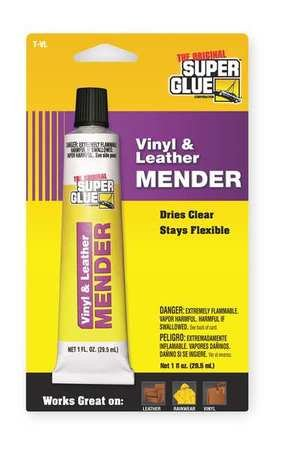 Super Glue T-VL48 Vinyl/Leather Adhesive, 1 Oz Tube, Clear