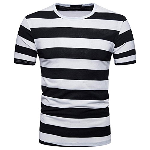(Mens T Shirt Charberry Summer Stripe Short Sleeve Top T-Shirt Casual Stripe Round Neck Pullover T-shirt Top Blouse (US-S /CN-M, Black))