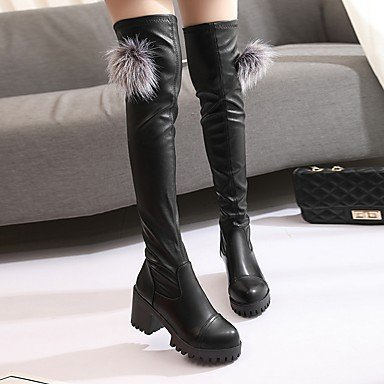 PU Fashion Women's Chunky Heel Winter Casual Fall 3 amp;xuezi Dress Black Gll Black 4in Boots Boots 1 1in wx5Rx10