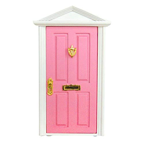 NATFUR Pink Painted Wooden Fairy Front Door with Knocker Plate Dollhouse -
