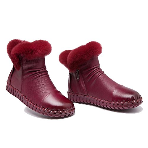 Lazy Soft 38 Boots Shoes WINERED Handmade Plush Cotton Ankle Thicker Casual Flat Soles Warm Pregnant Female Heel Leather w47txqqT