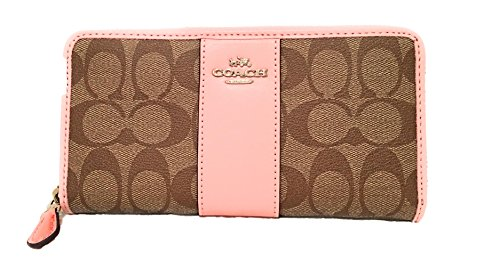Coach F54630 Signature Accordion Zip Around Wallet Khaki/Blush by Coach