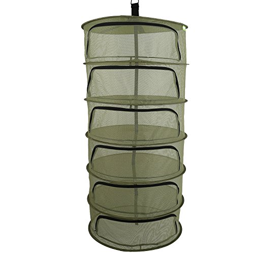 Ipomelo Hanging Herb Dring Rack Dry Net 2ft 6 Layer w/Zipper Opening Green ()
