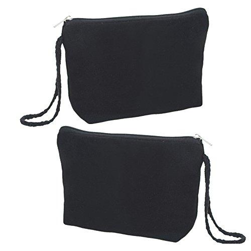 da Aspire dimensioni un cosmetico te viaggio tela tela di cerniera 12pcs inferiore borsa bambola Fai di borsa nero beige wr86xgEUnr