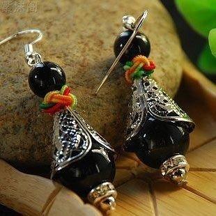 (TKHNE Original national air quality original quality Tibetan silver onyx earrings mix and match collection souvenir deals)