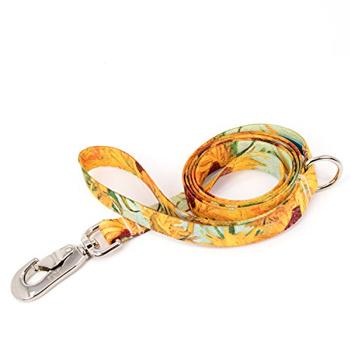 Sunflower Clasp - Buttonsmith Van Gogh Sunflowers Dog Leash, 5 ft Length, Medium Width - Fadeproof Permanently Bonded Printing, Extra Heavy Duty Quick Clasp, Resistant to Odors & Mildew, 100% Made in USA
