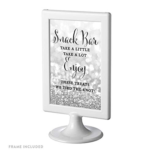 Andaz Press Framed Wedding Party Signs, Glitzy Silver Glitter, 4x6-inch, Snack Bar Take a Little Take a Lot Enjoy These Treats We Tied The Knot!, 1-Pack ()