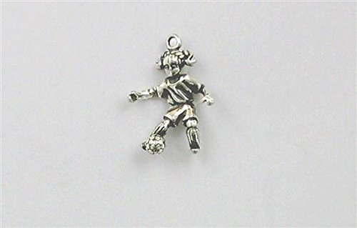Sterling Silver 3-D Girl Soccer Player Charm Jewelry Making Supply, Pendant, Charms, Bracelet, DIY Crafting by Wholesale ()