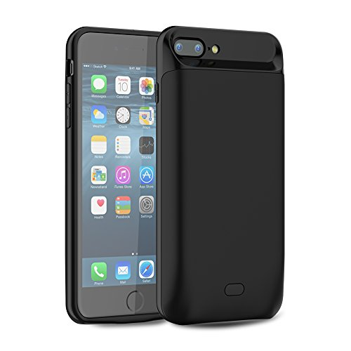 Funda Carcasa Batería Recargable para iPhone 7 Plus / iPhone 8 Plus, LifeePro 7200mAh Ultra delgado Batería Externa Cargador Portátil Power Bank Backup Protector Estuche de Carga para iPhone 7 Plus /  Negro 2