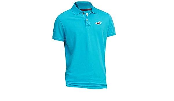 Hollister hombre contraste Slim Fit Icon Polo Shirt Tee Turquesa ...