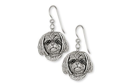 Lhasa Apso Jewelry Sterling Silver Lhasa Apso Earrings Handmade Dog Jewelry LSZ8-E
